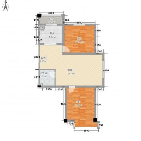 山水龙城2室1厅1卫1厨70.89㎡户型图