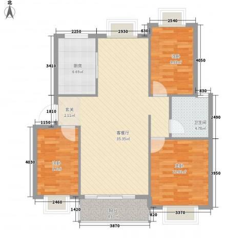 金鑫家园3室1厅1卫1厨113.00㎡户型图