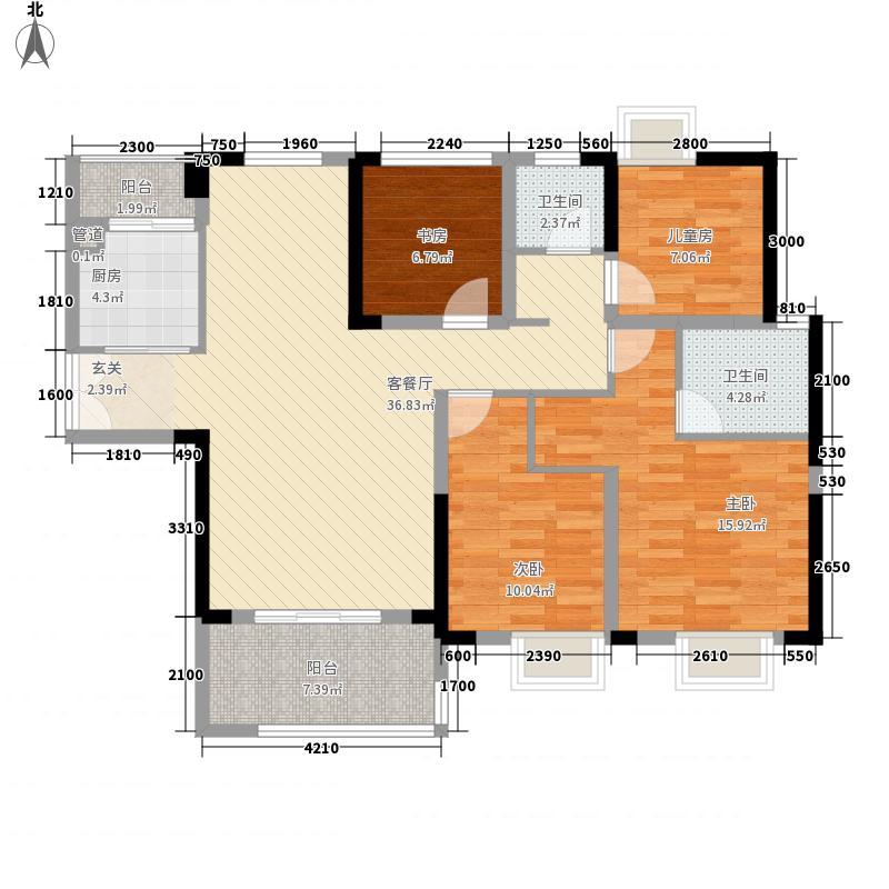 圣名国际广场127.30㎡4号楼D2户型3室2厅2卫1厨