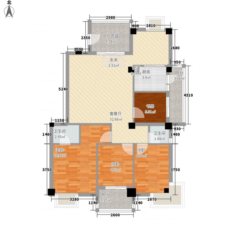 江畔芳庭127.00㎡户型3室