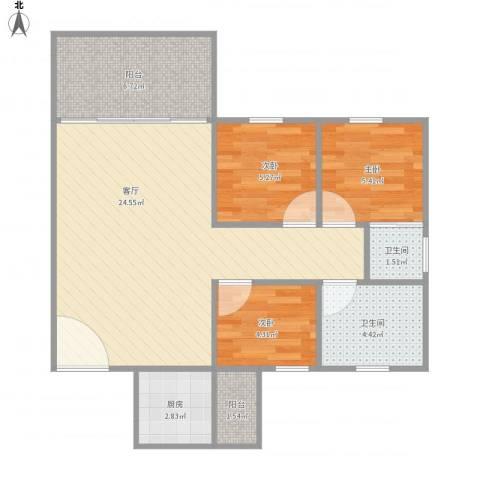 叠翠家园14栋3013室1厅2卫1厨78.00㎡户型图
