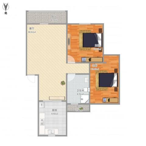 嘉泰花园公寓2室1厅1卫1厨106.00㎡户型图