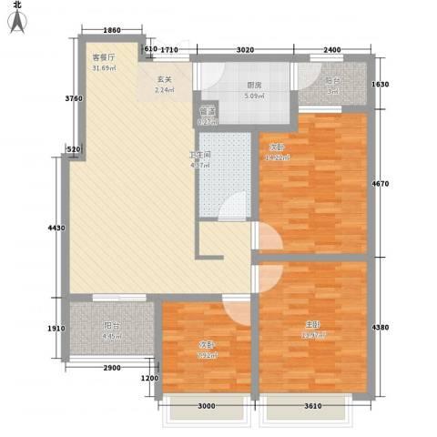 紫金华府3室1厅1卫1厨122.00㎡户型图