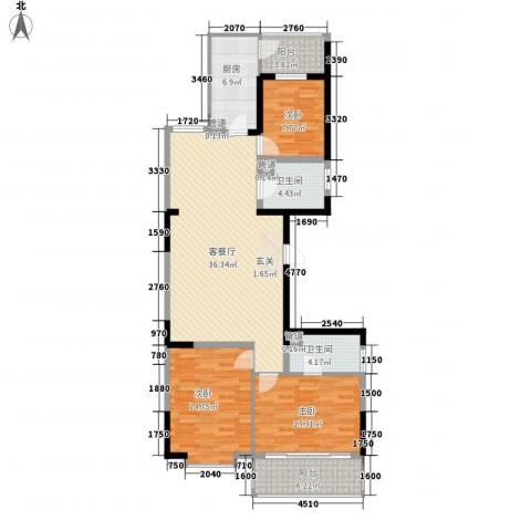 博雅米兰假日3室1厅2卫1厨148.00㎡户型图