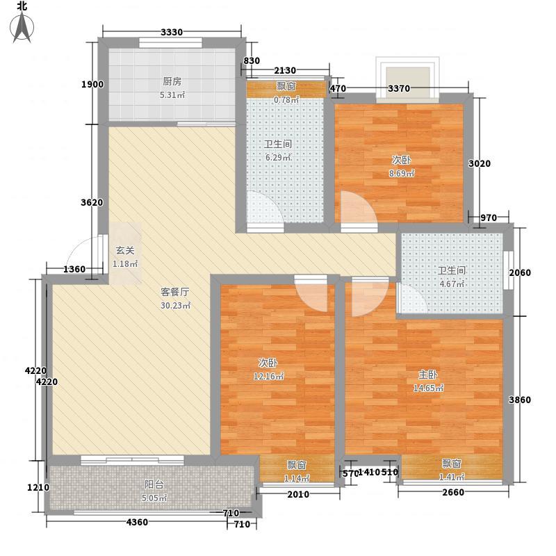 桓谭风荷124.22㎡多层D户型3室2厅2卫2厨