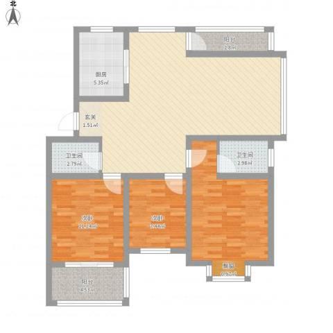 蓝庭国际3室1厅2卫1厨125.00㎡户型图