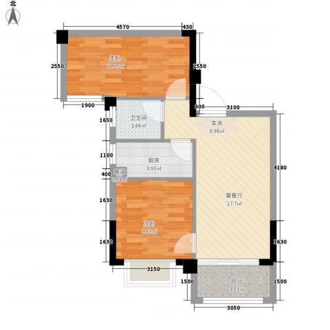 简爱社区2室1厅1卫1厨69.00㎡户型图