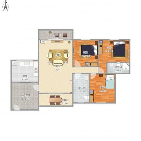 德怡居3室2厅2卫1厨141.00㎡户型图