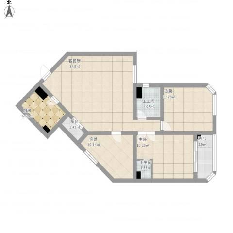梅花苑3室1厅2卫1厨130.00㎡户型图