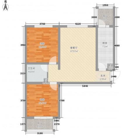东龙府邸2室1厅1卫1厨102.00㎡户型图