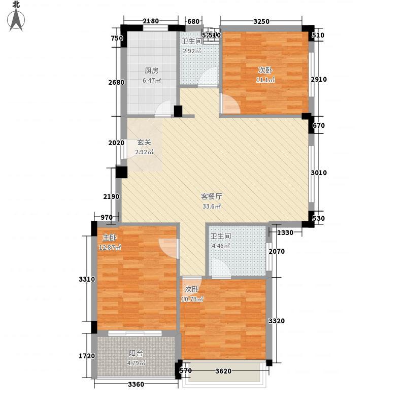 金地・中央美域121.00㎡金地中央美域6+1多层电梯洋房户型3室2厅2卫1厨