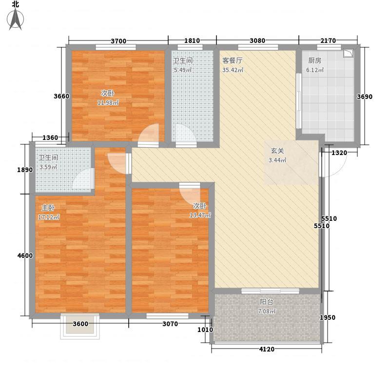 �河盛都117.40㎡B2户型3室2厅2卫1厨