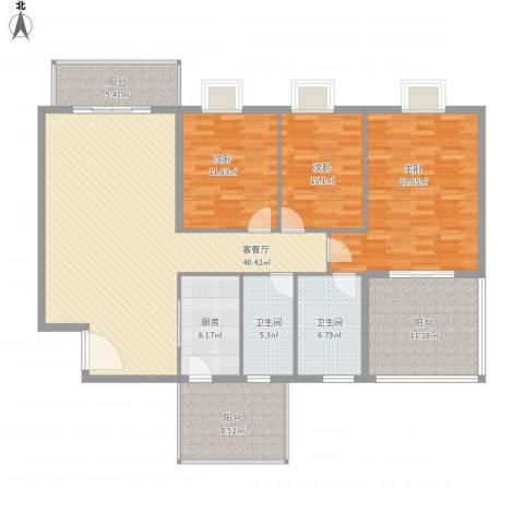 海逸长洲恋海园3室1厅2卫1厨139.28㎡户型图