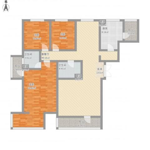 海逸长洲恋海园3室1厅2卫1厨148.60㎡户型图