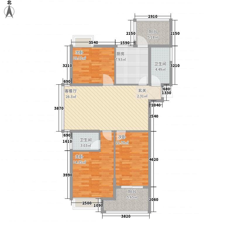 金汇花园125.00㎡一期1-2#高层D户型3室2厅2卫1厨
