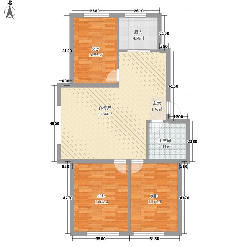 赤峰香格里拉国际城17.82㎡D户型3室2厅1卫1厨