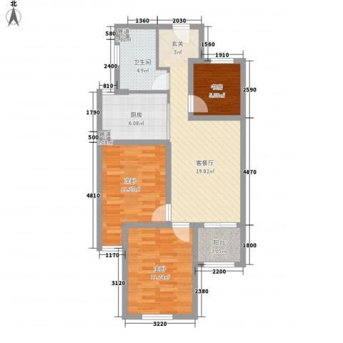 京东紫晶3室1厅1卫1厨91.00㎡户型图