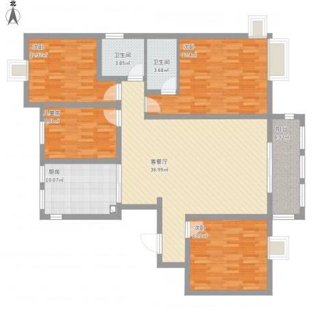 御景豪庭4室1厅2卫1厨157.00㎡户型图