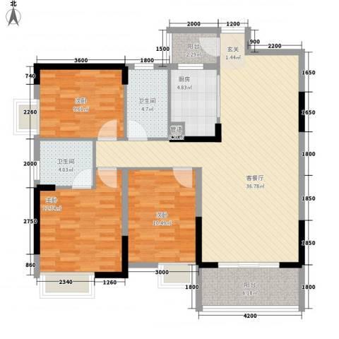 梓山湖领御3室1厅2卫1厨91.45㎡户型图