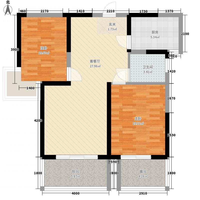 亿龙金河湾6B户型2室2厅1卫1厨