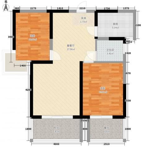 亿龙金河湾2室1厅1卫1厨69.91㎡户型图