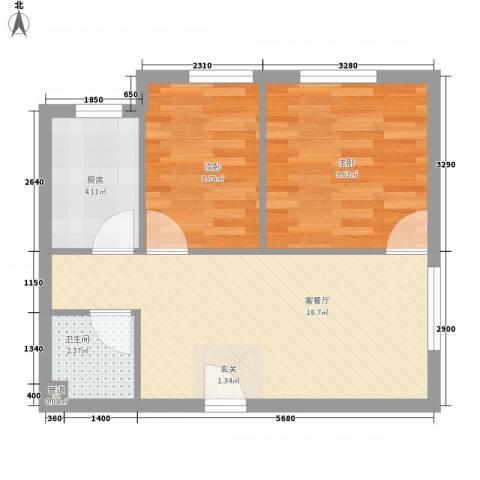 京东紫晶2室1厅1卫1厨56.00㎡户型图