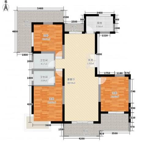 亿龙金河湾3室1厅2卫1厨145.00㎡户型图