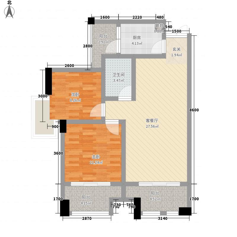 兴业新城87.81㎡户型3室2厅1卫1厨