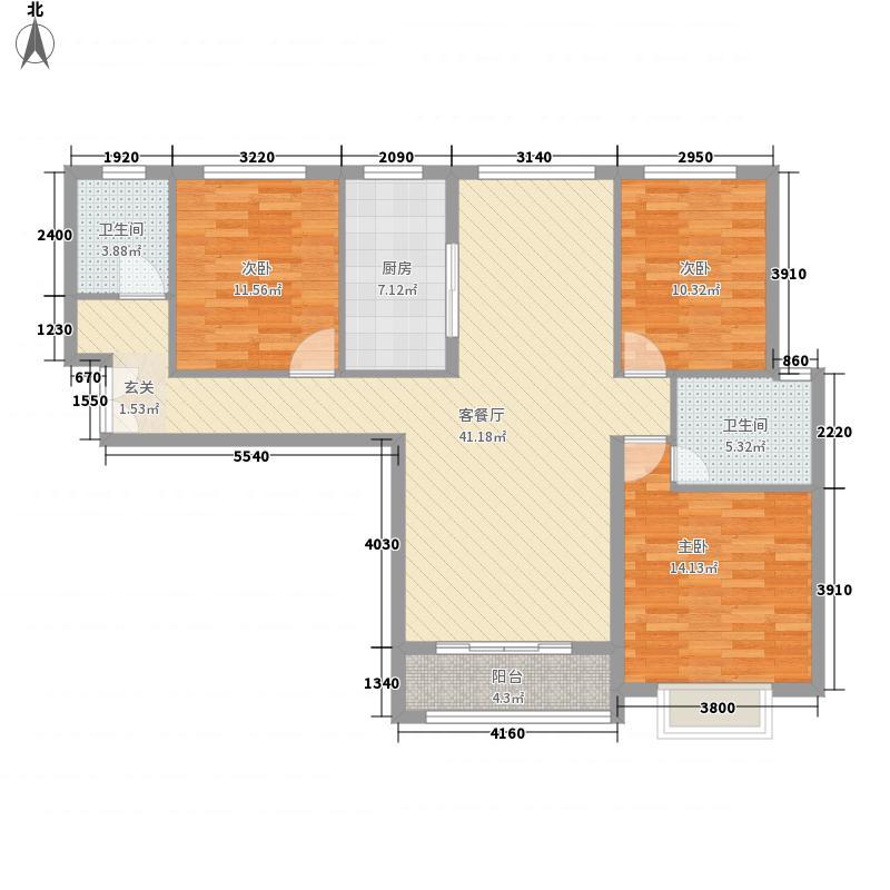 儒林商都137.32㎡5#B户型3室2厅2卫1厨