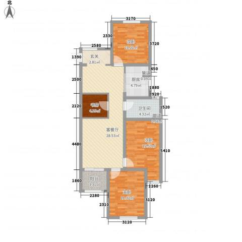 京东紫晶4室1厅1卫1厨115.00㎡户型图