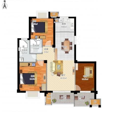 望湖公馆3室1厅2卫1厨131.00㎡户型图