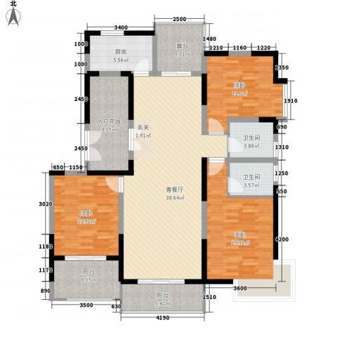 亿龙金河湾3室1厅2卫1厨139.00㎡户型图