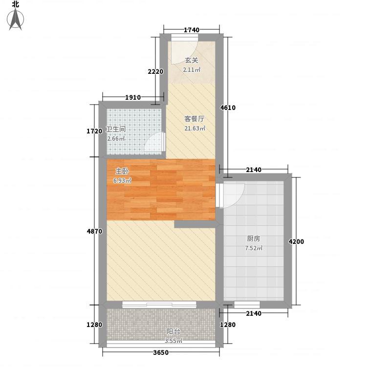 北京悦5.00㎡6#B3一居户型1室1厅1卫1厨