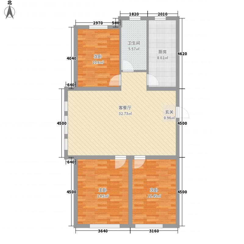 赤峰香格里拉国际城117.27㎡D户型3室2厅1卫1厨
