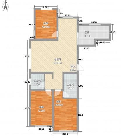赤峰香格里拉国际城3室1厅2卫1厨105.50㎡户型图