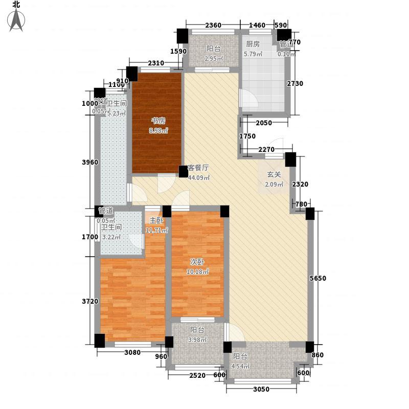 海洋・名仕公馆14.00㎡D、户型3室2厅2卫1厨