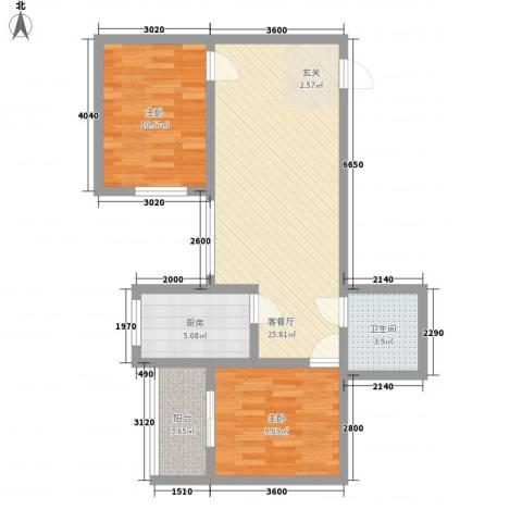 龙悦湾三期2室1厅1卫1厨86.00㎡户型图