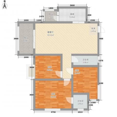 南天・星月国际广场3室1厅2卫1厨86.53㎡户型图