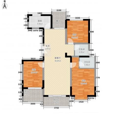 亿龙金河湾3室1厅2卫1厨101.33㎡户型图