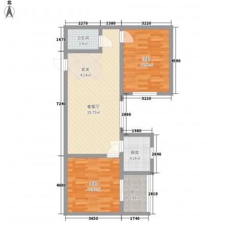 龙悦湾三期2室1厅1卫1厨62.47㎡户型图