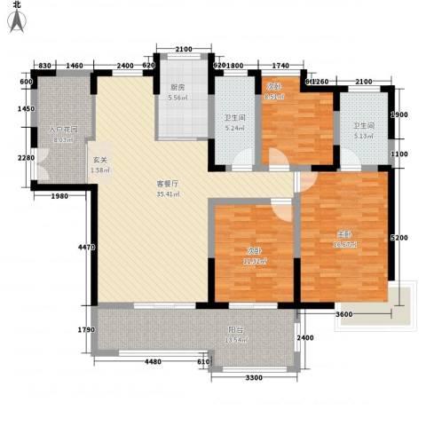 亿龙金河湾3室1厅2卫1厨143.00㎡户型图