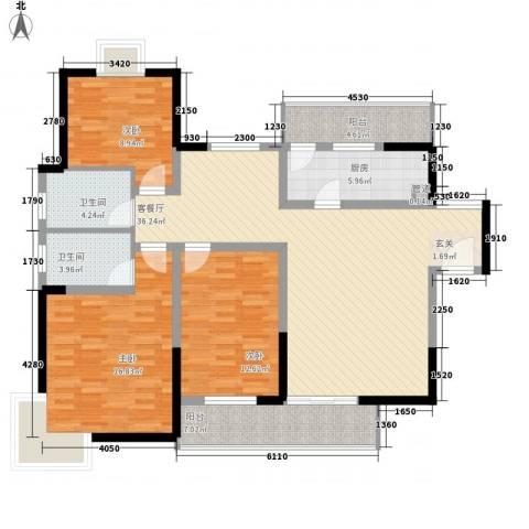 在水一方3室1厅2卫1厨144.00㎡户型图