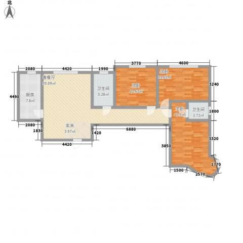 龙悦湾三期3室1厅2卫1厨134.00㎡户型图