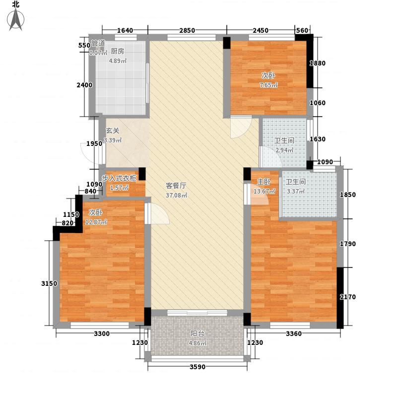 圣汐澜山124.00㎡G09户型3室2厅2卫1厨