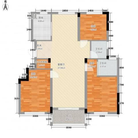 圣汐澜山3室1厅2卫1厨124.00㎡户型图
