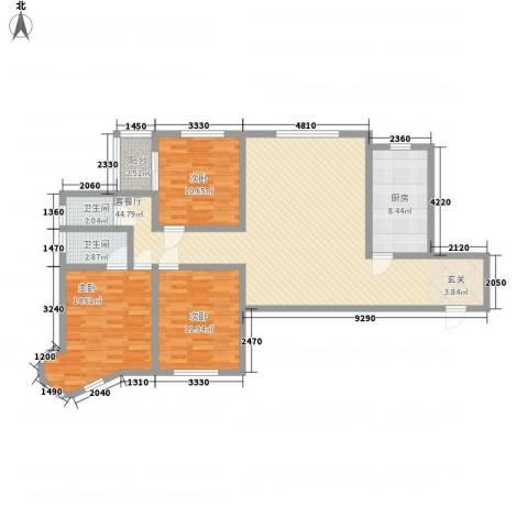 龙悦湾三期3室1厅2卫1厨97.86㎡户型图