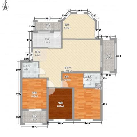 圣汐澜山3室2厅2卫1厨139.00㎡户型图