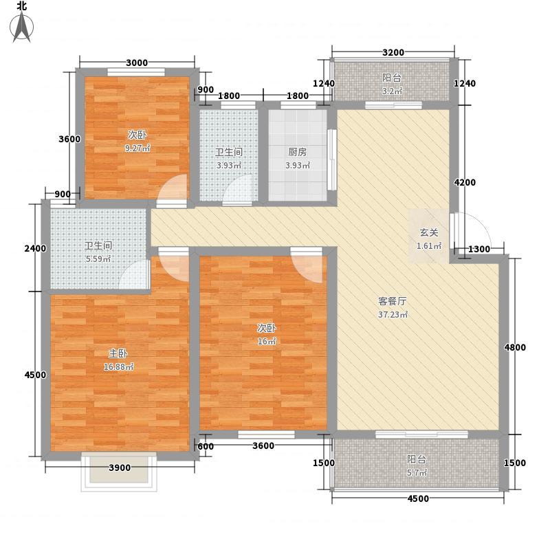 金星湘江苑126.00㎡B4户型3室2厅2卫1厨