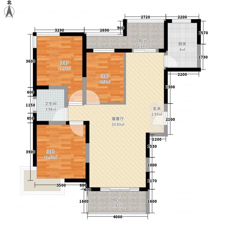 亿龙金河湾112.33㎡8#A户型3室2厅1卫1厨