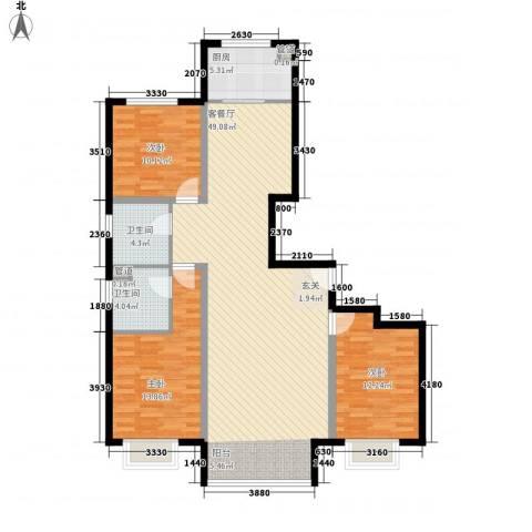 中央豪庭3室1厅2卫1厨140.00㎡户型图